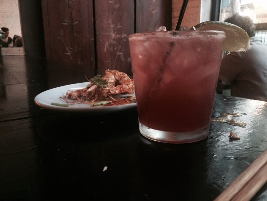 Singapore Sling with Cereal Prawns