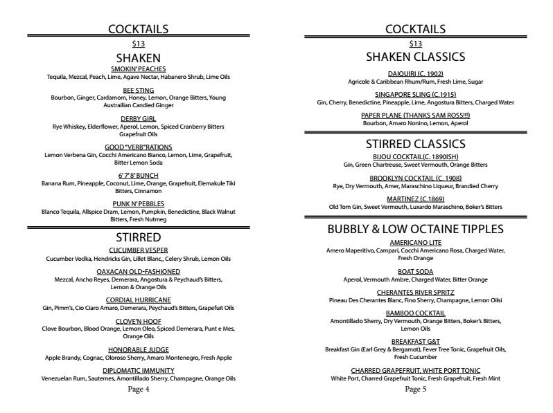 Cocktail Menu at 21 Greenpoint