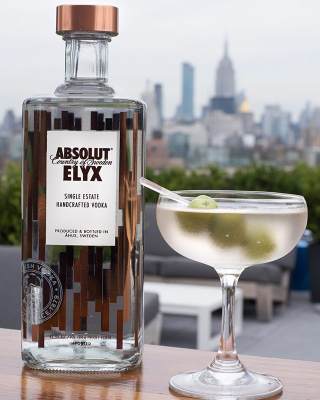 Absolut Elyx Dirty Martini at Mr Purple