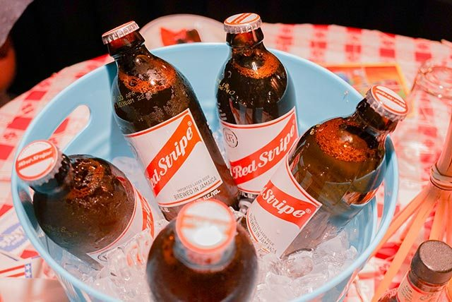 Bucket of Red Stripe Jamaican Beer at Miss Lily's
