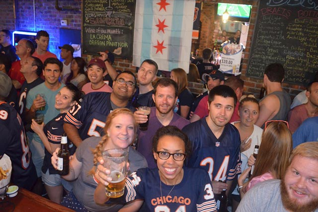Overlook Chicago Bear's New York City Team Bar