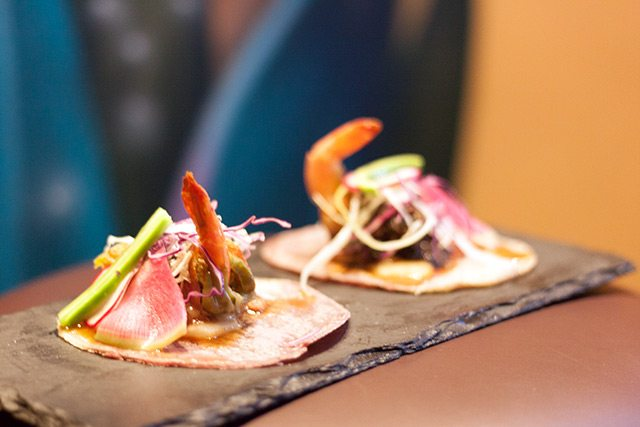 Tacos at Vida Verde cocktails and food